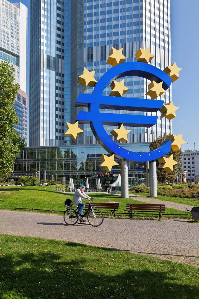 Stock Photo: 1848-579423 European Central Bank, ECB, euro_symbol, Frankfurt am Main, Hesse, Germany, Europe, PublicGround