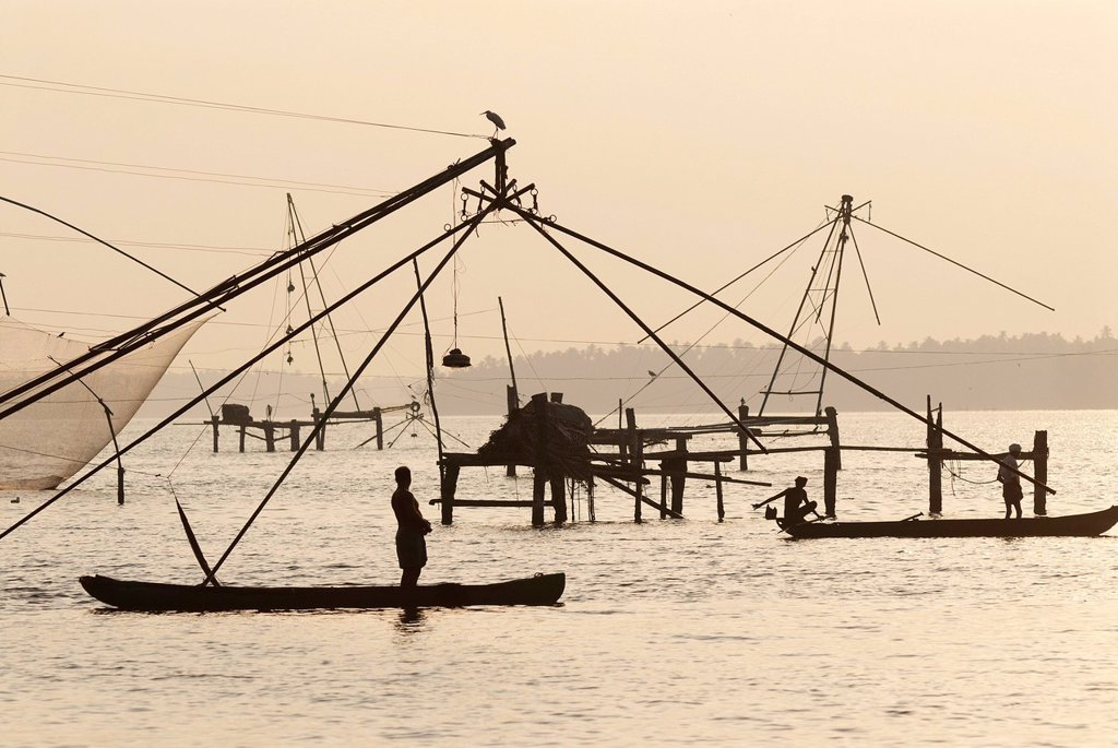 Chinese fishing nets, Kerala, South India, India, Asia : Stock Photo