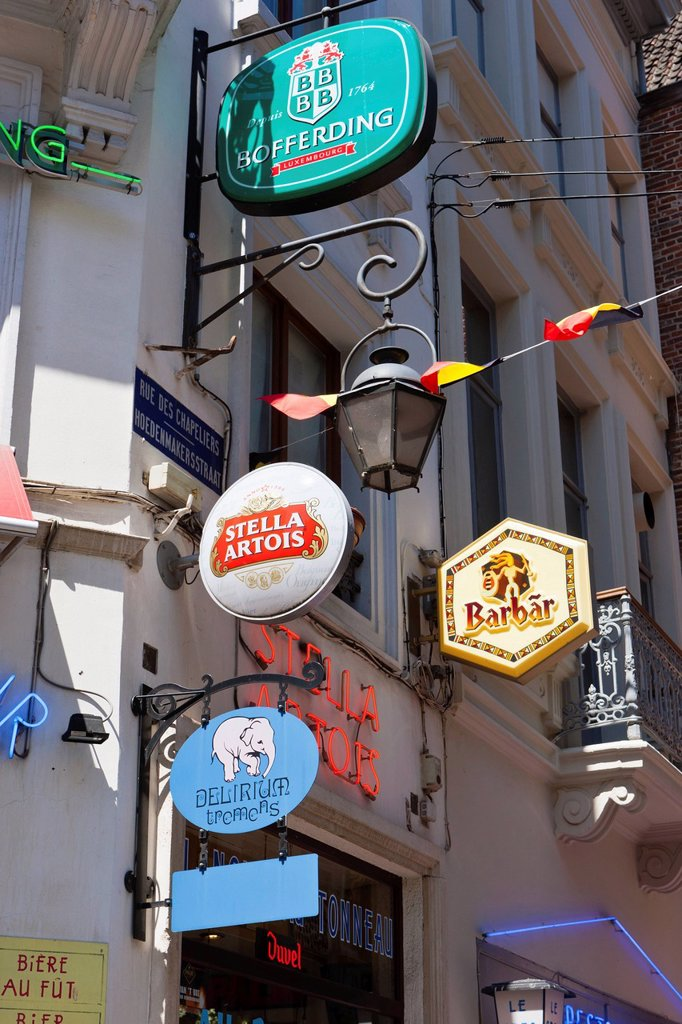 Restaurant signs for various types of beer in the Rue des Chapeliers, Brussels, Belgium, Benelux, Europe : Stock Photo