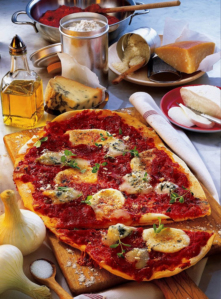 Pizza with five cheeses, Italy, recipe available for a fee : Stock Photo