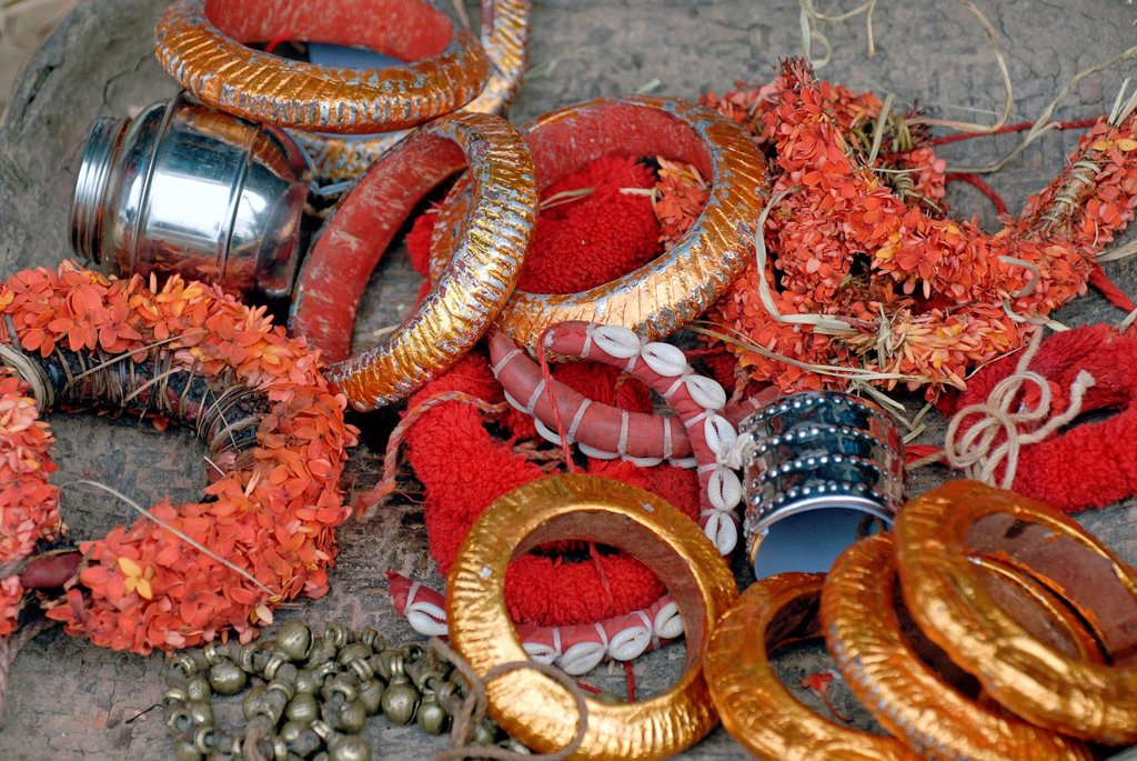 Anklets and jewelry for a Theyyam ritual, near Kasargod, North Kerala, South India, Asia : Stock Photo