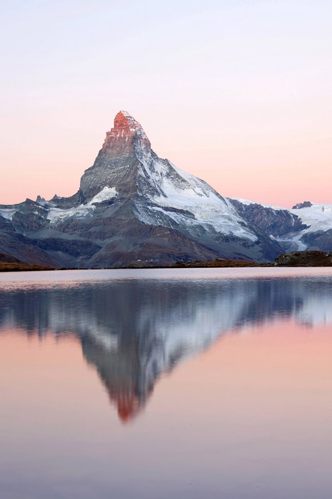Stock Photo: 1848-579775 Early mornign at Stellisee Lake with views of Mt Matterhorn, Zermatt, Valais, Swiss Alps, Switzerland, Europe, PublicGround