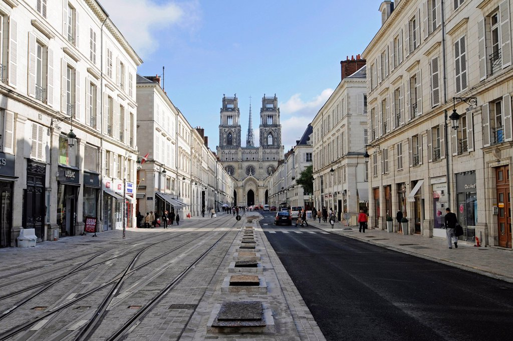 Stock Photo: 1848-579792 Rue Jeanne d´Arc, street, Cathedrale Sainte_Croix, Orleans, Loiret, Centre, France, Europe, PublicGround