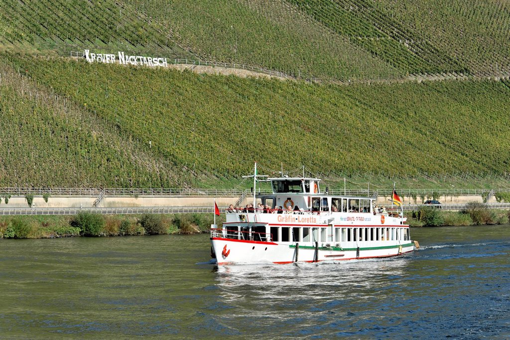 Stock Photo: 1848-580022 Graefin von Loretta, excursion ship, built 1969, commissioned 1993, wine growing region, Kroever Nacktarsch vineyards, Moselle river, Rhineland_Palatinate, Germany, Europe