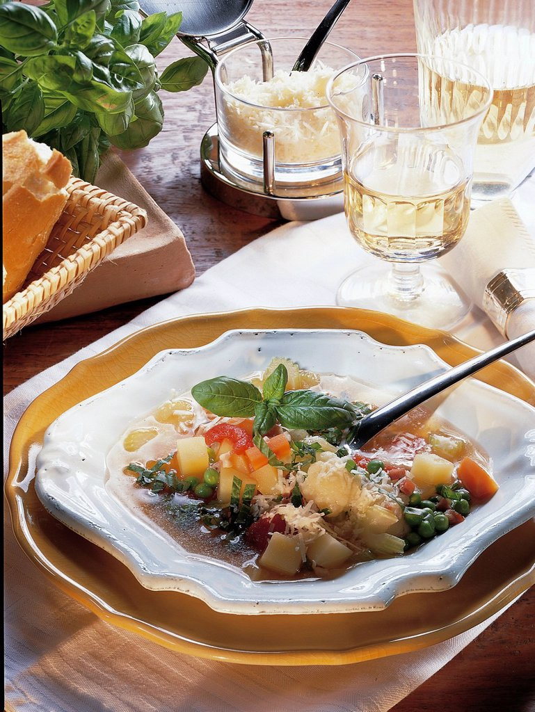 Italian minestrone, Italy, recipe available for a fee : Stock Photo