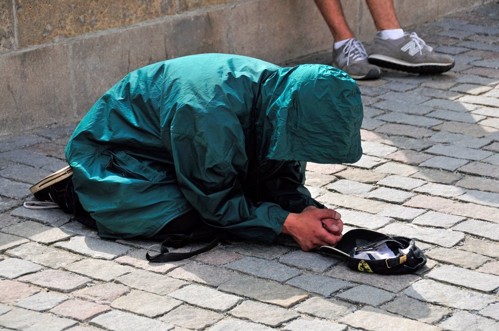 Stock Photo: 1848-580848 Beggar in the old town of Prague, Bohemia, Czech Republic, Europe, PublicGround