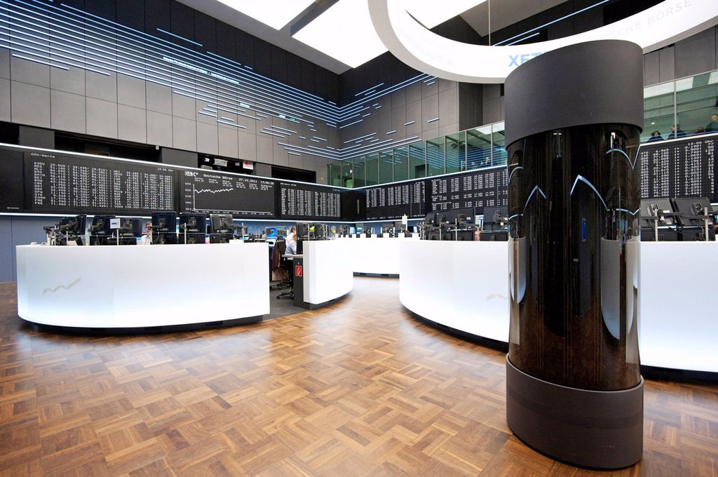 Stock Photo: 1848-581213 Trading floor of Frankfurter Wertpapierboerse, Frankfurt Stock Exchange, Deutsche Boerse AG, Frankfurt am Main, Hesse, Germany, Europe