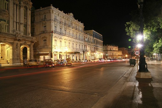 Stock Photo: 1848-58140 Street next to Parque Central, nighttime, Havana, Cuba, Caribbean, Americas