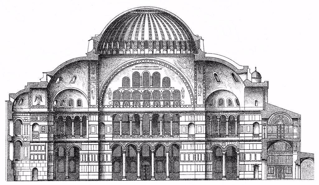 Historical graphic representation of the Hagia Sophia, or ...