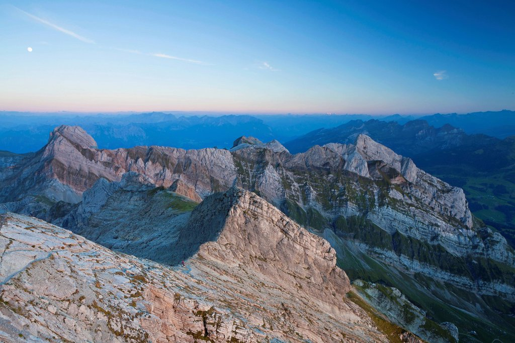 Stock Photo: 1848-581713 Twilight with moon in the Alpstein Range, from Mt Saentis, Appenzell region, Swiss Alps, Switzerland, Europe, PublicGround
