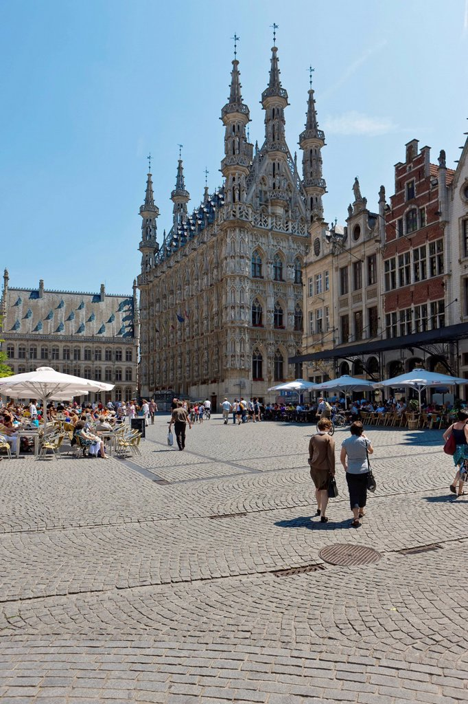 Stock Photo: 1848-581738 The Gothic town hall on Grote Markt square, Leuven, Belgium, Europe
