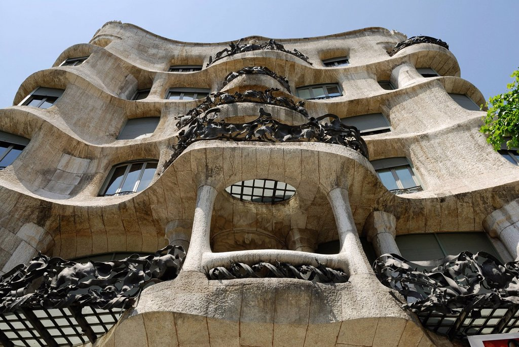 Stock Photo: 1848-581935 Balconies, facade of Casa Milà, La Pedrera, architect Antoni Gaudi, Passeig de Gracia, Eixample, Barcelona, Catalonia, Spain, Europe, PublicGround