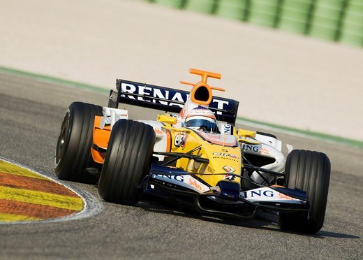 Stock Photo: 1848-58194 Nelson PIQUET jr. Brazil driving a Renault during a Formula 1 test run at the Circuit Ricardo Tormo racetrack near Valencia, Spain
