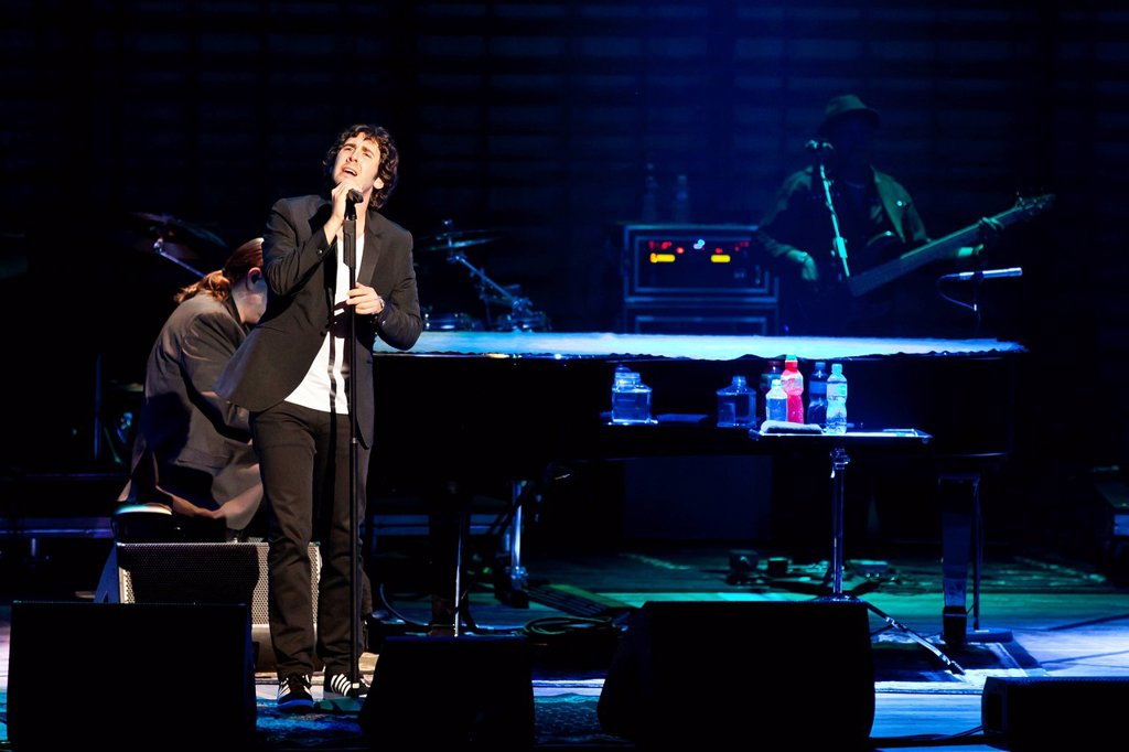 Stock Photo: 1848-581953 U.S. singer Josh Groban performing live in the concert hall of the KKL, Culture and Convention Centre, Lucerne, Switzerland, Europe