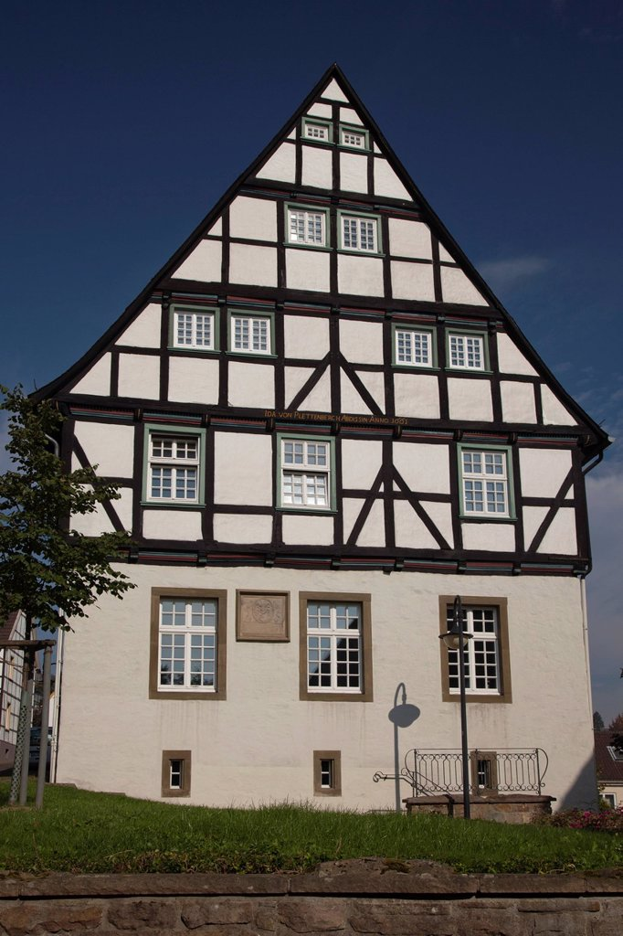 Building of the abbesses monastery, museum of local history, monument, half_timbered house, Froendenberg Ruhr, Unna district, Ruhr Area, North Rhine_Westphalia, Germany, Europe, PublicGround : Stock Photo