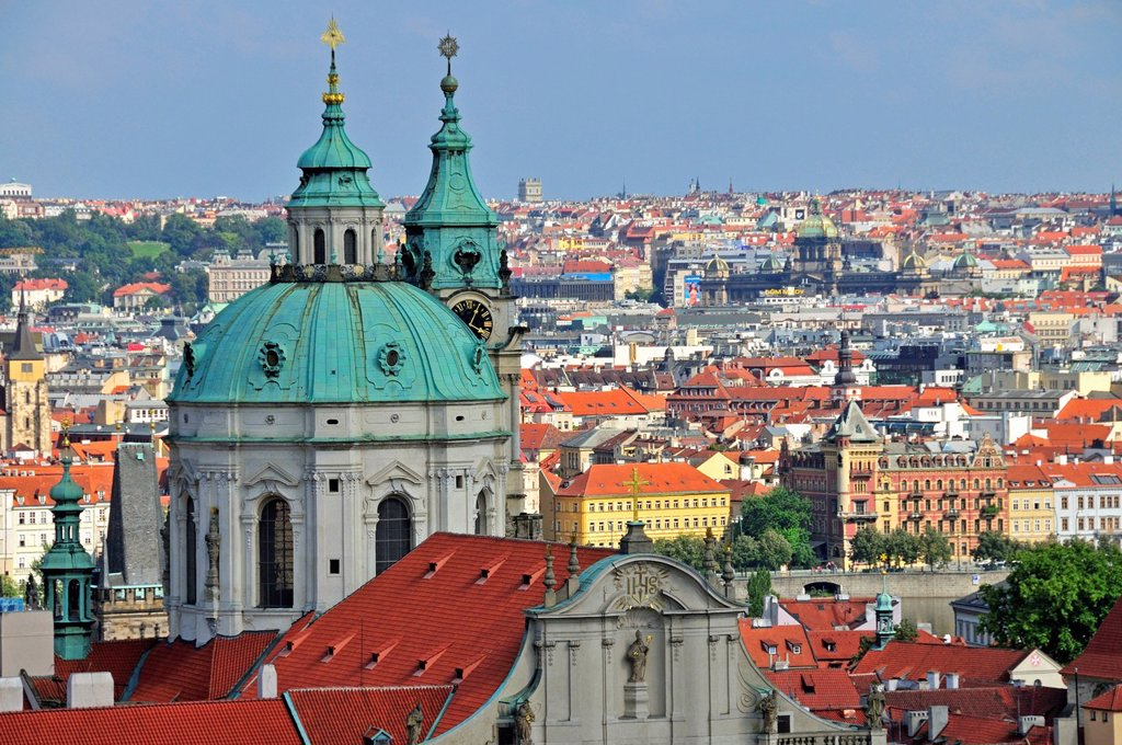 Panoramic view across the historic centre of Prague, UNESCO World Heritage site, with St Nicholas Cathedral, Prague, Bohemia, Czech Republic, Europe, PublicGround : Stock Photo