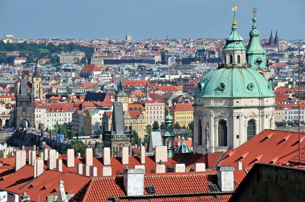 Stock Photo: 1848-582314 Panoramic view across the historic centre of Prague, UNESCO World Heritage site, with St Nicholas Cathedral, Prague, Bohemia, Czech Republic, Europe, PublicGround