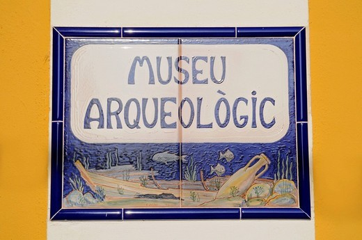 Stock Photo: 1848-58232 Sign, Spanish tiles, Archaeological Museum, Calpe, Alicante, Costa Blanca, Spain