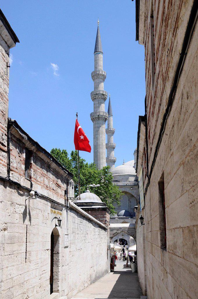 Stock Photo: 1848-582391 Narrow lane leading to Suleymaniye Mosque, Sueleymaniye Camii, old town, Istanbul, Turkey, Europe