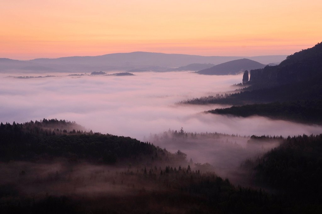Stock Photo: 1848-582526 Fog in the Elbe Sandstone Mountains, overlooking Nasser Grund with Blossstock rock at back, Saxony, Germany, Europe