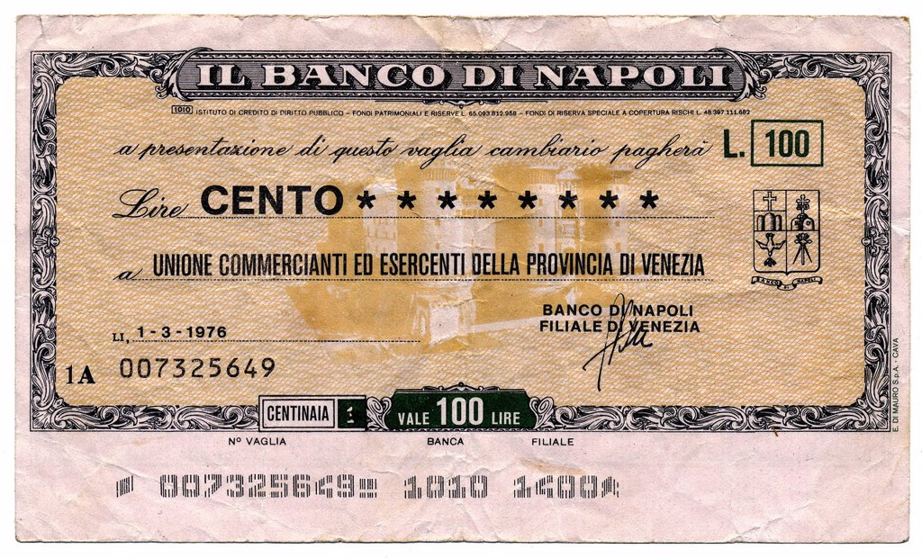 Stock Photo: 1848-582724 Il Banco di Napoli, Naples, Miniassegno, Italian bank transfer, money order, check with a low value, a kind of emergency paper money, 100 Lire, 1976, Italy, Europe
