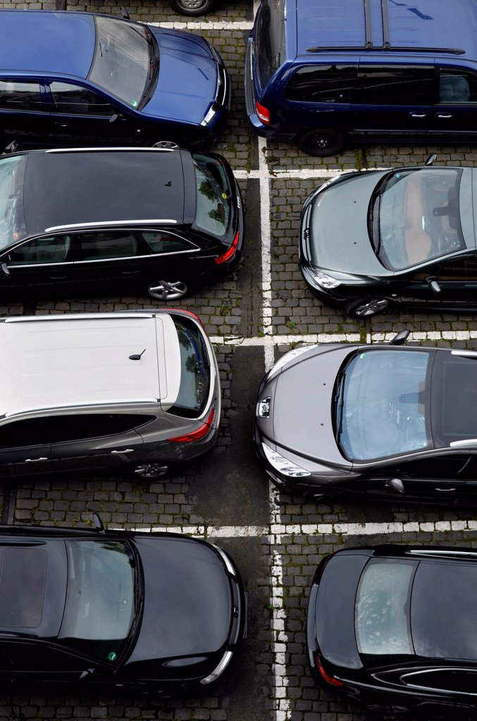 Parked cars seen from a bird´s eye view, Duesseldorf, North Rhine_Westphalia, Germany, Europe : Stock Photo
