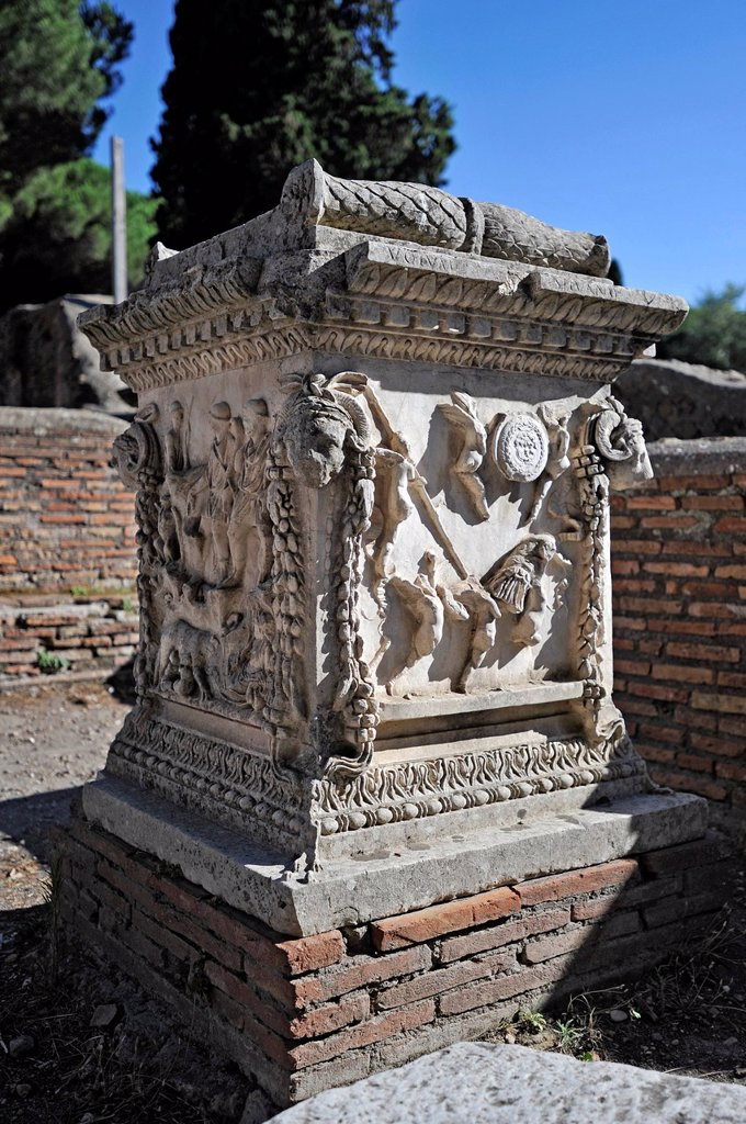Stock Photo: 1848-583251 Relief on the sacred altar of Romulus and Remus, Sacello dell ´Ara Tues Romolo e Remo, Ostia Antica archaeological site, ancient port city of Rome, Lazio, Italy, Europe