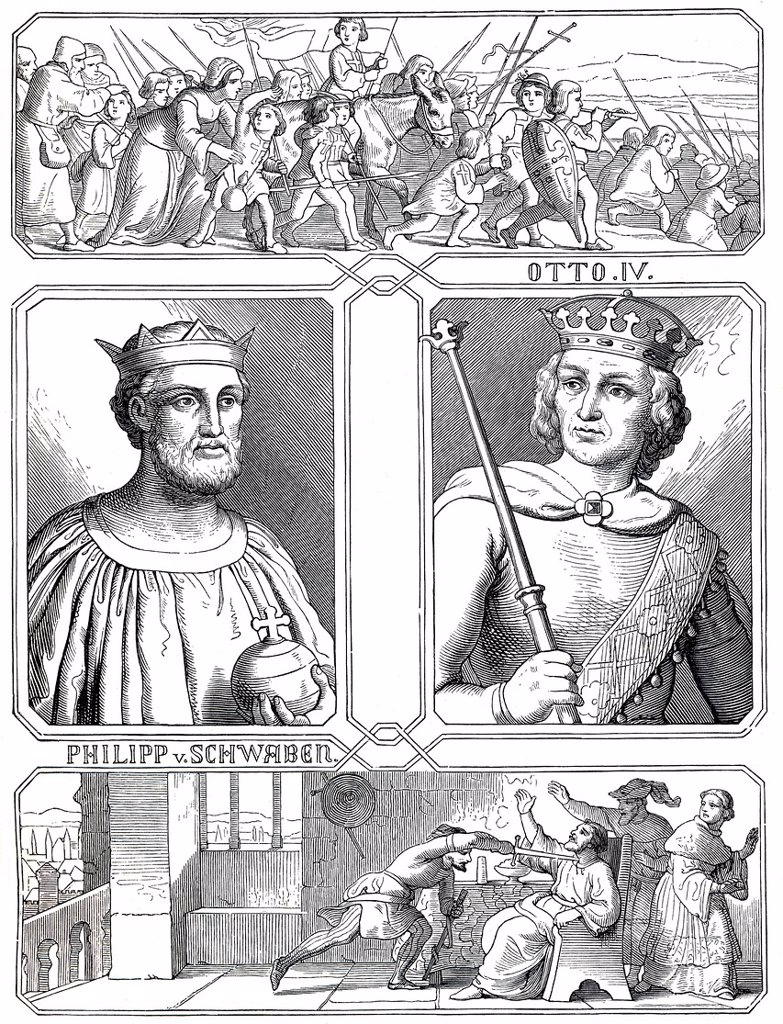 Stock Photo: 1848-583312 Otto IV of Brunswick, 1175 _ 1218, and the murder of Philip of Swabia, 1177 _ 1208, historical illustration from Bildnisse der Deutschen Koenige und Kaiser, Portraits of German Kings and Emperors, by Professor Heinrich Schneider, Verlag Friedrich Andreas. Otto IV of Brunswick, 1175 _ 1218, and the murder of Philip of Swabia, 1177 _ 1208, historical illustration from Bildnisse der Deutschen Koenige und Kaiser, Portraits of German Kings and Emperors, by Professor Heinrich Schneider, Verlag Friedri