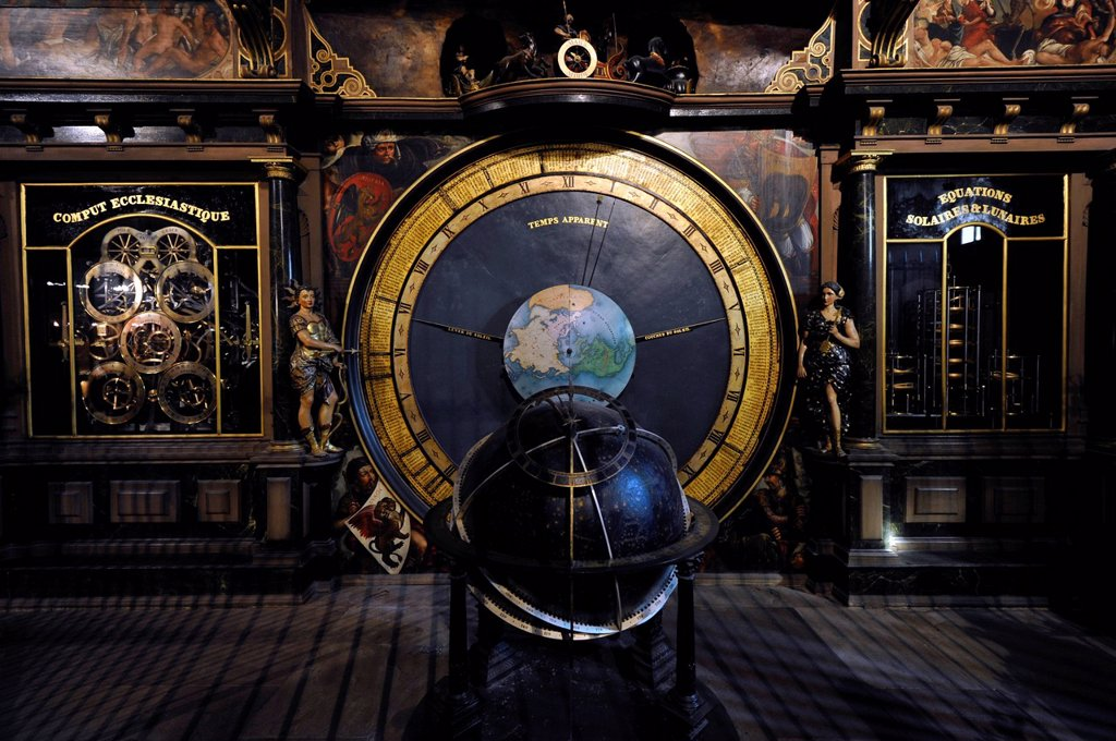 Stock Photo: 1848-583413 Astronomical clock, interior view of Strasbourg Cathedral, Cathedral of Our Lady of Strasbourg, Strasbourg, Bas_Rhin department, Alsace, France, Europe