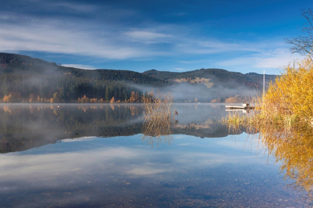 Stock Photo: 1848-583524 Fog on Lake Schluchsee with reflections, autumn mood, Breisgau_Hochschwarzwald district, Baden_Wuerttemberg, Germany, Europe