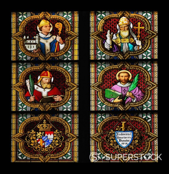 Bayernfenster window, lower part of Johannesfenster window, Christian rulers, the coat of arms of Bavarian and the donor´s inscription of 1847, King Ludwig I, Cologne Cathedral, a UNESCO World Heritage site, North Rhine_Westphalia, Germany, Europe : Stock Photo