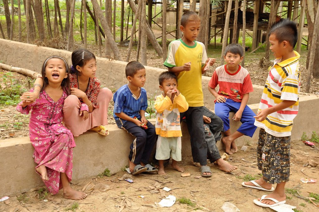 Stock Photo: 1848-583817 Children in the village of the Cham ethnic minority, Chau Doc, Mekong Delta, Vietnam, Southeast Asia, Asia