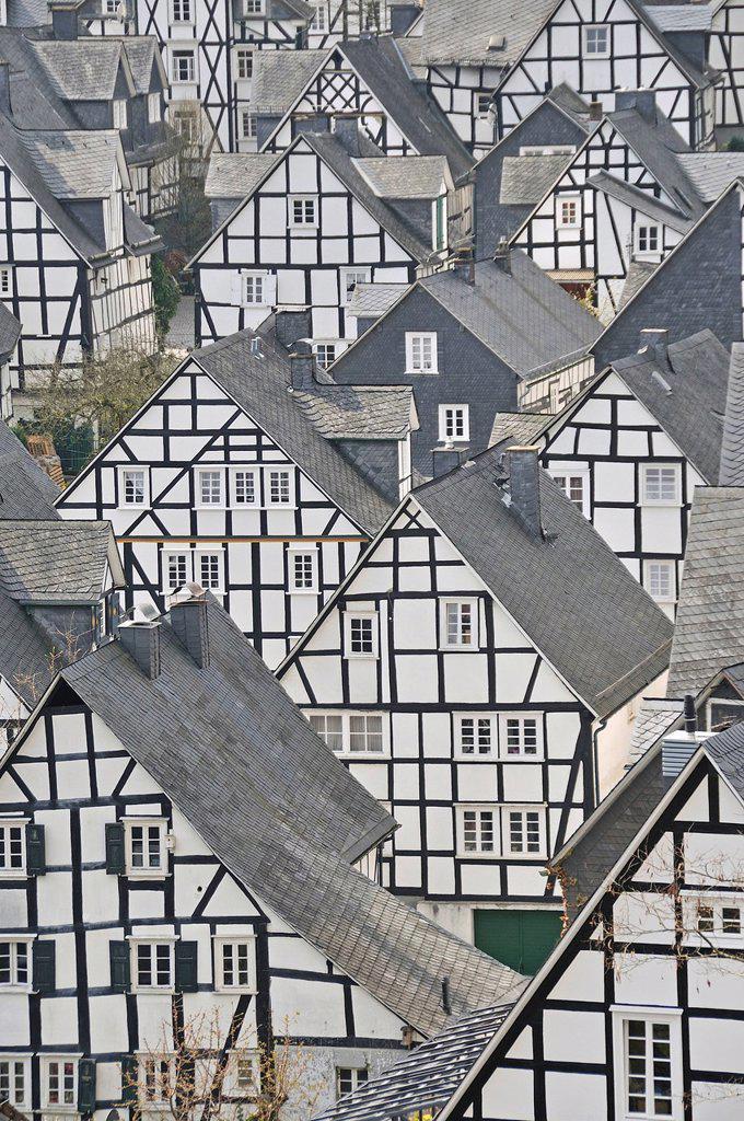 Historic downtown, Alter Flecken with half_timbered houses, Freudenberg, Siegen_Wittgenstein, Siegerland region, North Rhine_Westphalia, Germany, Europe, PublicGround : Stock Photo