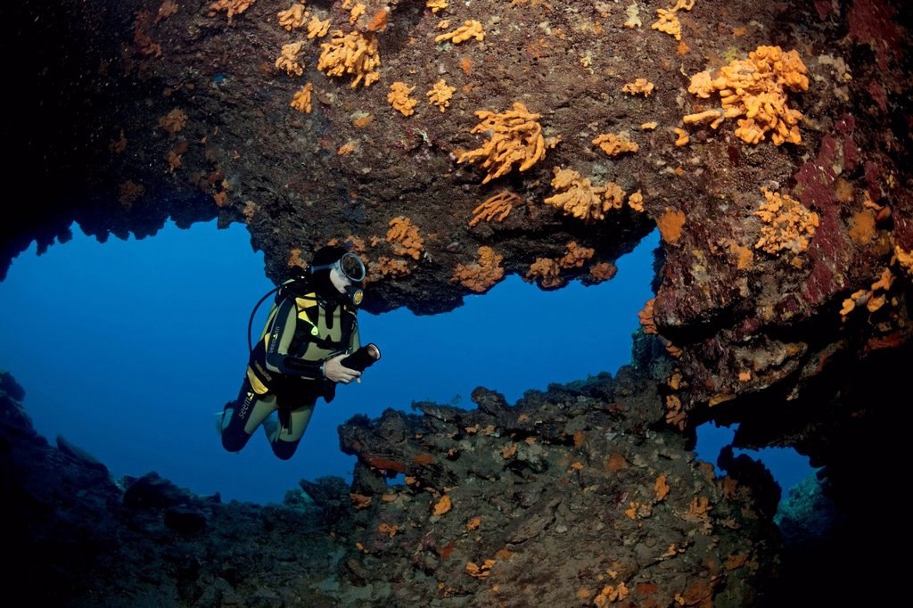 Stock Photo: 1848-584051 Diver in a cave in shallow water, with a small exit 6 meters below the surface, walls covered with sponges, Bodrum, Aegean, Turkey, Mediterranean Sea