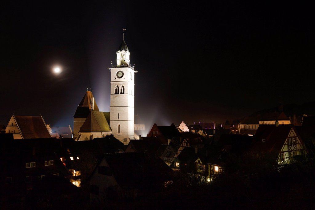 St. Nikolaus parish church at night with moon rising, Ueberlingen, Lake Constance district, Baden_Wuerttemberg, Germany, Europe : Stock Photo