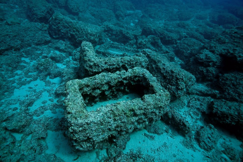 Ancient stone coffins, sarcophagi, underwater, near the Five Islands at Cape Gelidonya, Adrasan, Lycia, Turkey, Mediterranean : Stock Photo