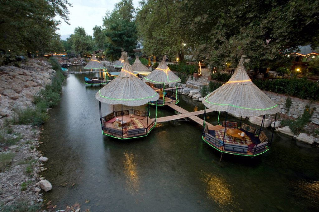 Stock Photo: 1848-584602 Restaurant in a river, Adrasan, Turkey