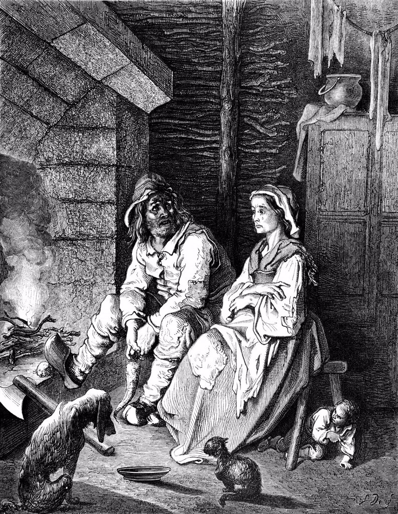 Stock Photo: 1848-585460 The Tom Thumb, father and mother, miserable hut, fireplace, illustration from Perrault´s Fairy Tale by Charles Perrault, illustrated by Gustave Dore