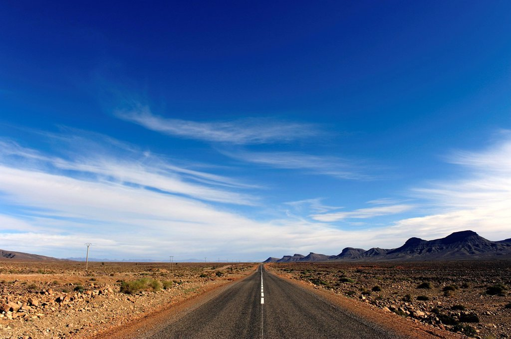 Stock Photo: 1848-585897 Road of the Kasbahs, stone desert, Hamadah, southern Morocco, Morocco, Maghreb, North Africa, Africa