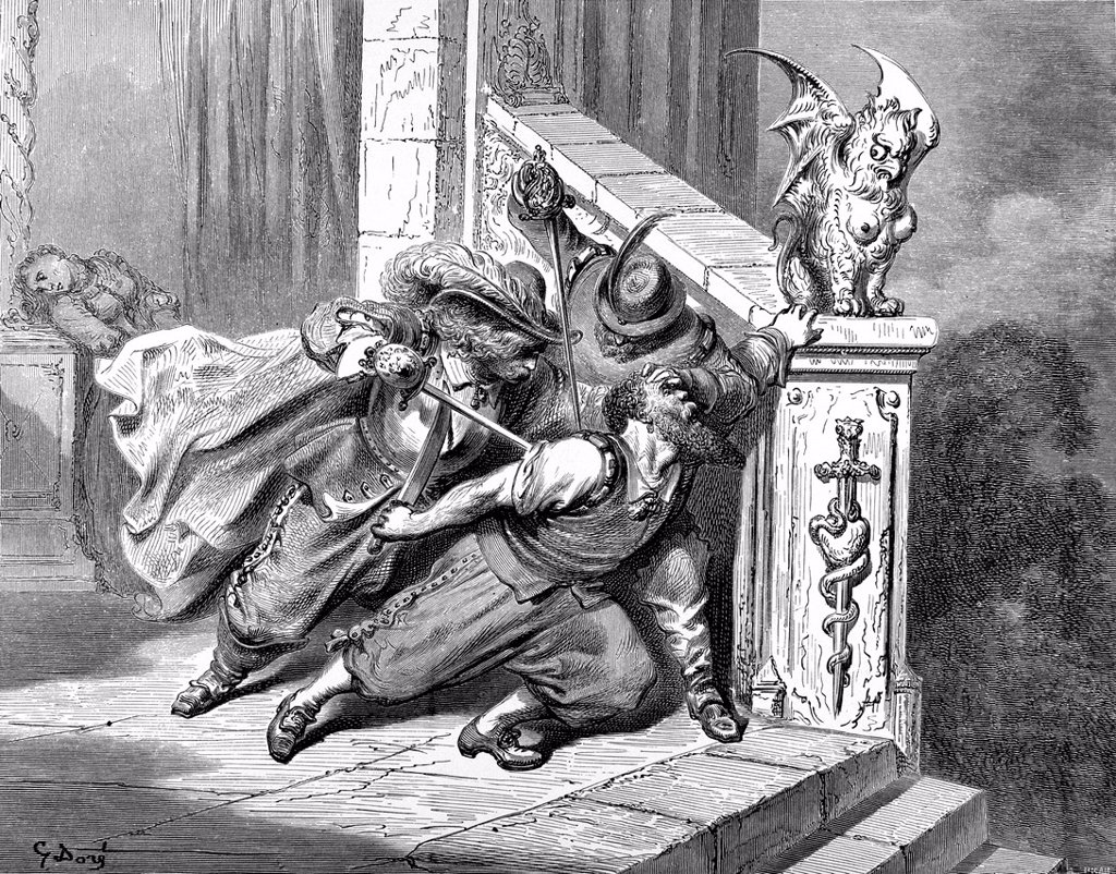 Bluebeard, men stab the old man with a sword on a staircase, illustration from Perrault´s Fairy Tale by Charles Perrault, illustrated by Gustave Dore : Stock Photo