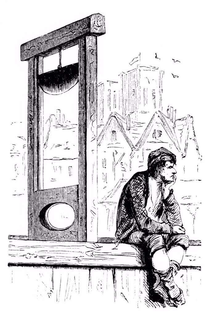 Bored hangman with guillotine, French Revolution, historic engraving from the Buch denkwuerdiger Frauen or book of memorable women, published by Otto Spamer, 1877 : Stock Photo