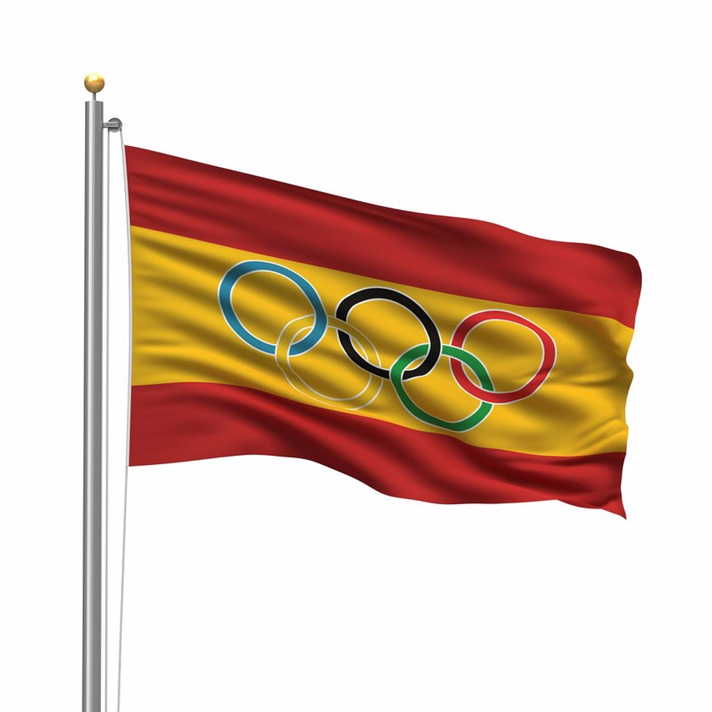 Stock Photo: 1848-586604 Flag of Spain with Olympic rings