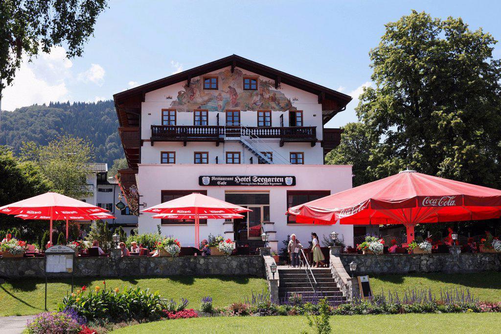 Seegarten Hotel, Bad Wiessee on Tegernsee Lake, Tegernsee Valley, Upper Bavaria, Bavaria, Germany, Europe, PublicGround : Stock Photo