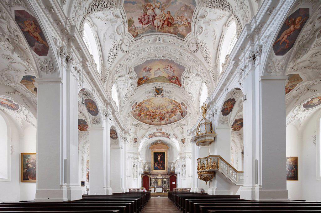 Stock Photo: 1848-587021 Parish church of St. Quirin, former monastery church, Tegernsee, Upper Bavaria, Bavaria, Germany, Europe
