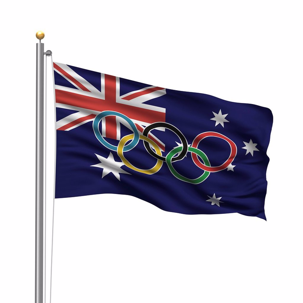 Stock Photo: 1848-587333 Flag of Australia with Olympic rings
