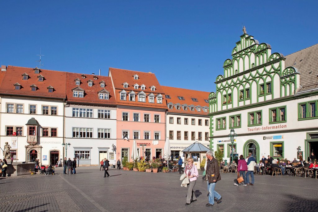 Stock Photo: 1848-587402 Marktplatz square with Weimar Stadthaus, right, Weimar, Thuringia, Germany, Europe, PublicGround