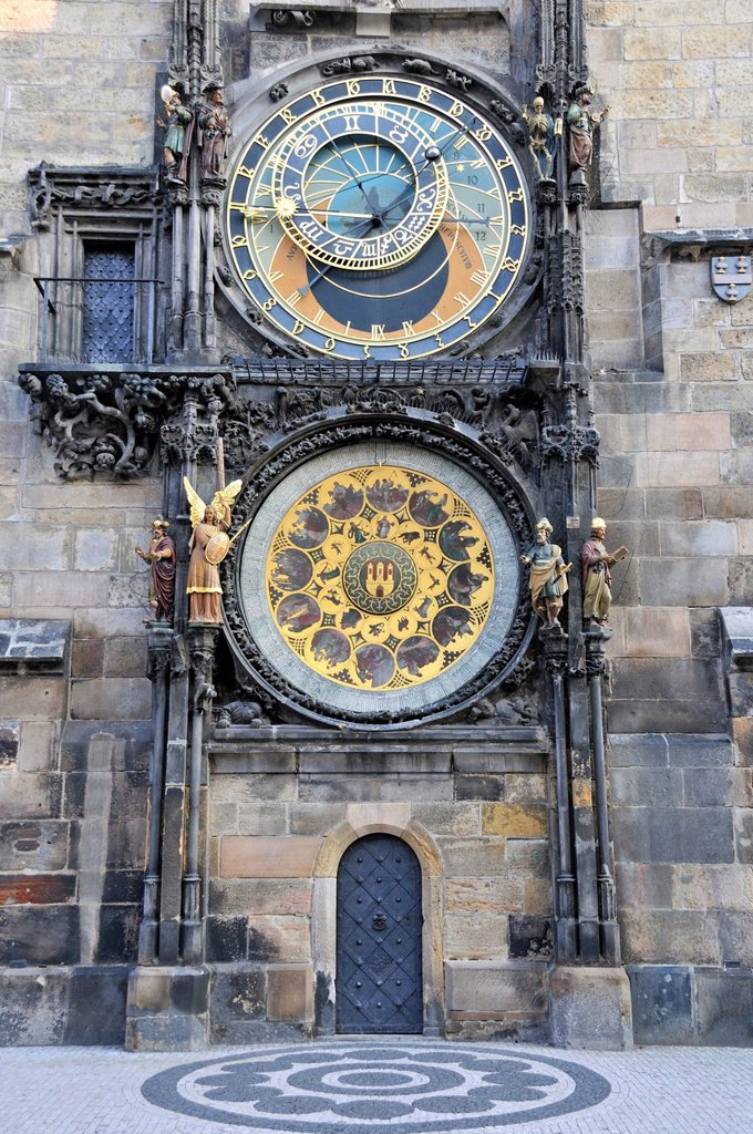 Tower of the Old Town Hall with Astronomical Clock, Old Town Square, historic district of Prague, Bohemia, Czech Republic, Europe, PublicGround : Stock Photo