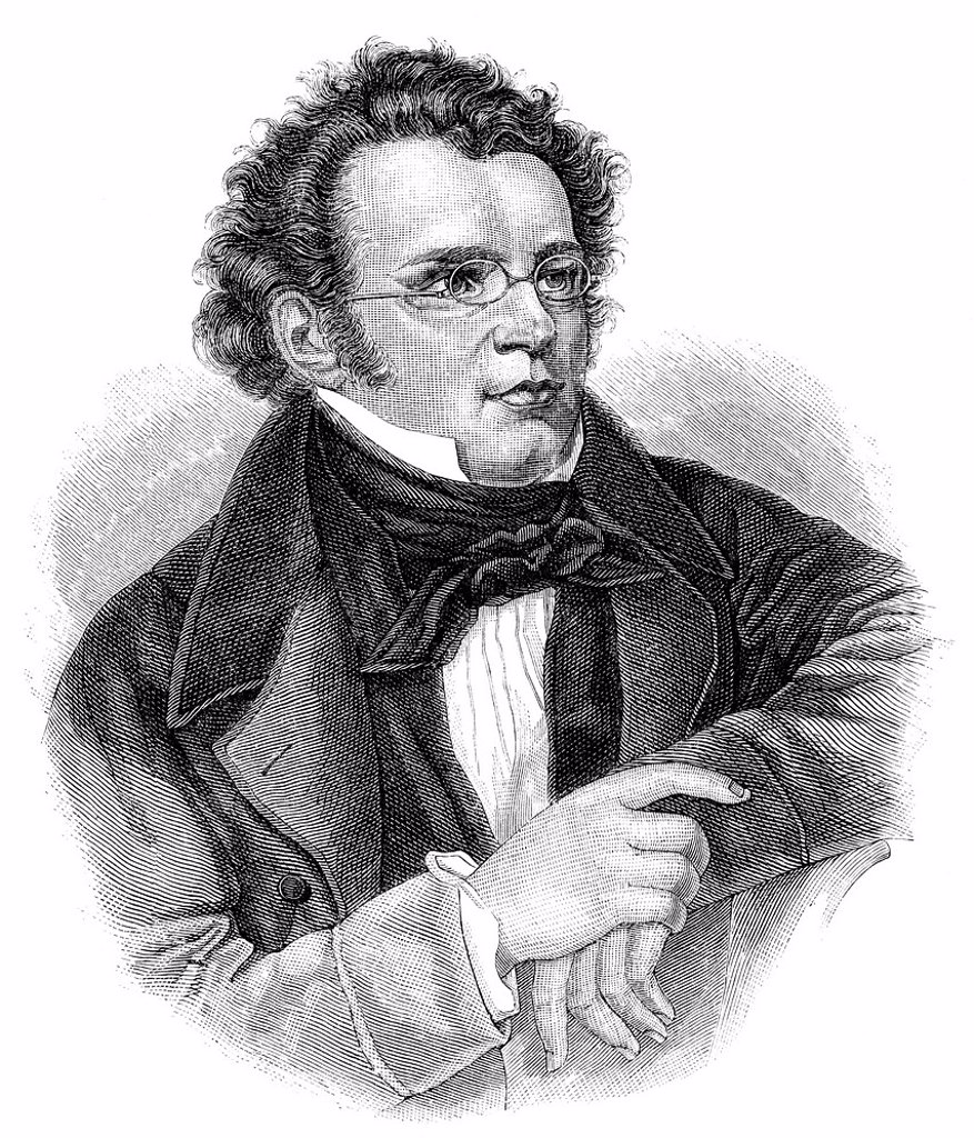 Stock Photo: 1848-587941 Historic drawing from the 19th century, portrait of Franz Peter Schubert, 1797 _ 1828, an Austrian composer