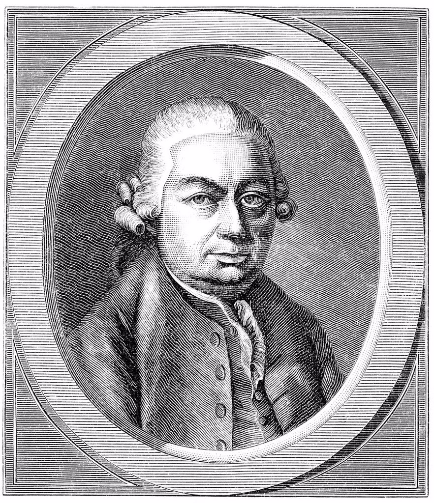 Historic drawing from the 19th century, portrait of Carl Philipp Emanuel Bach, 1714 _ 1788, a German composer, the most famous of the so_called sons of Bach : Stock Photo