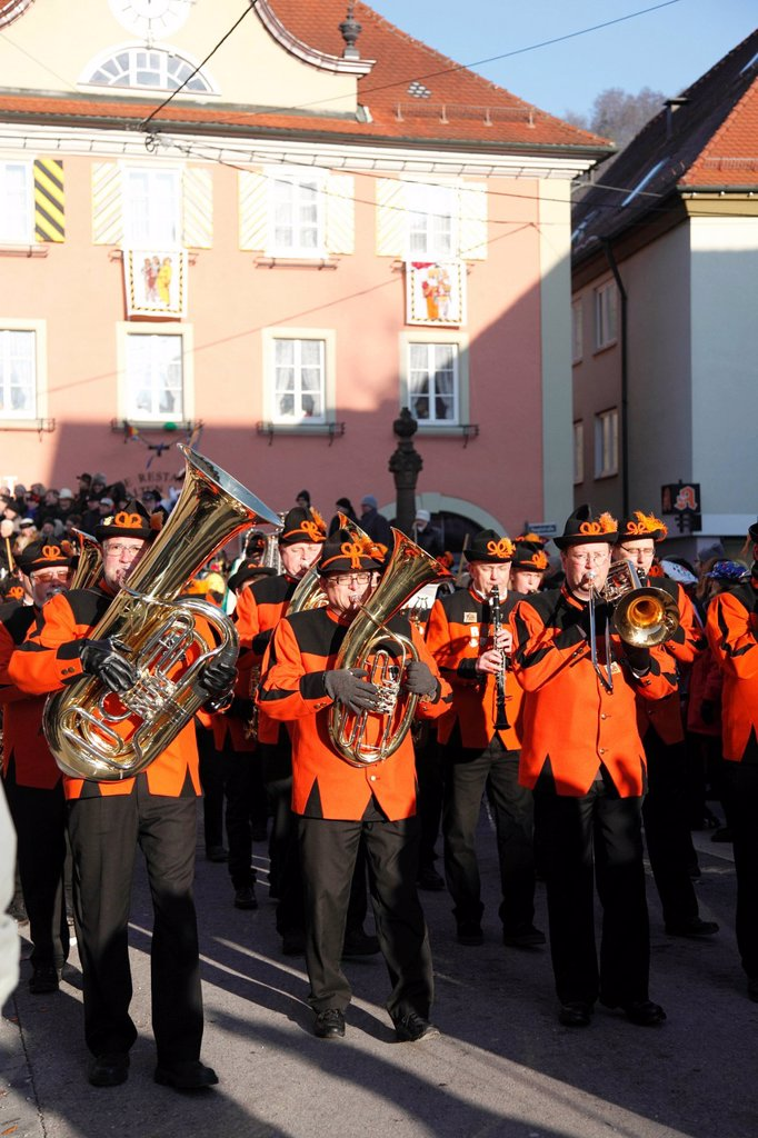 Stock Photo: 1848-587962 Traditional carnival parade in Oberndorf on the Neckar river, Oberndorf carnival, Alemannic carnival parade, Baden_Wuerttemberg, Germany, Europe